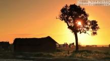 【無料の動画素材】夕日の中のモンバサ島の実写映像